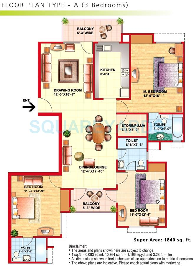 eldeco riviera apartment 3bhk 1840sqft 1