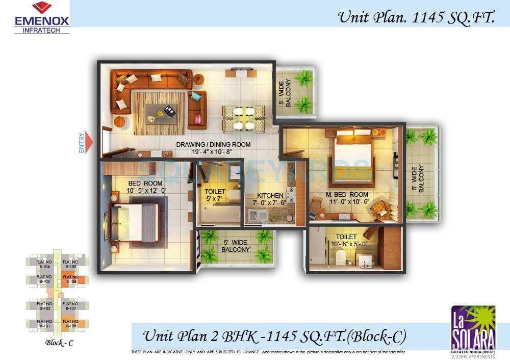 emenox la solara apartment 2bhk 1145sqft 61