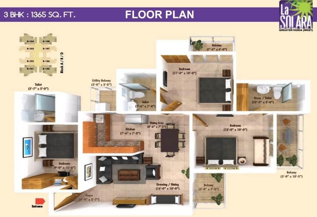 emenox la solara apartment 3bhk 1365sqft 61