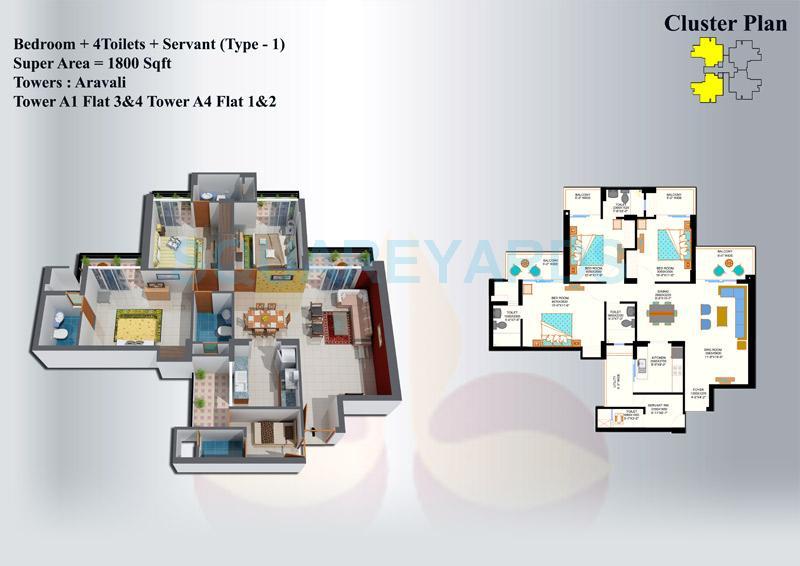 eros sampoornam apartment 3bhk 1800sqft 1