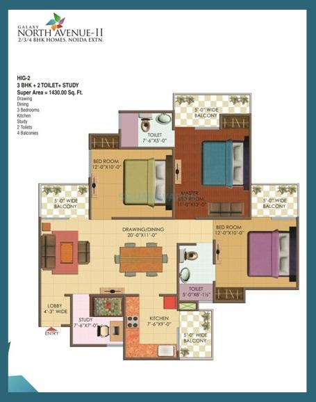 galaxy north avenue ll apartment 3bhk st 1430sqft 1