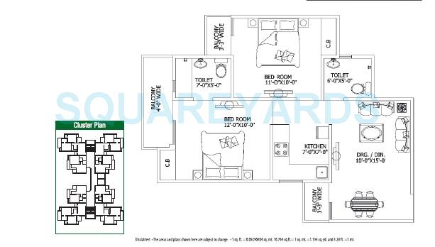 gaur city 1st avenue apartment 2bhk 860sqft 1