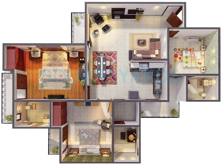 gaur city 1st avenue apartment 3bhk 1360sqft 1