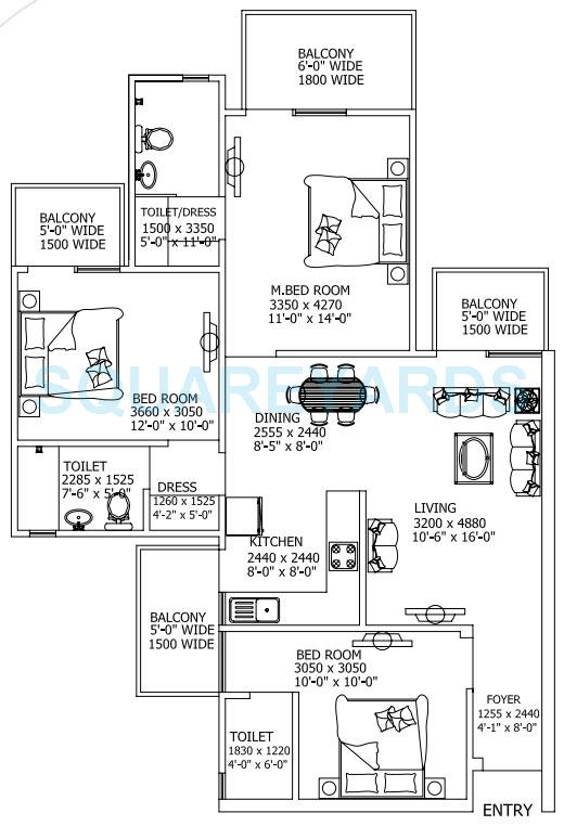 gaur city 2 11th avenue apartment 3bhk 1420sqft 1