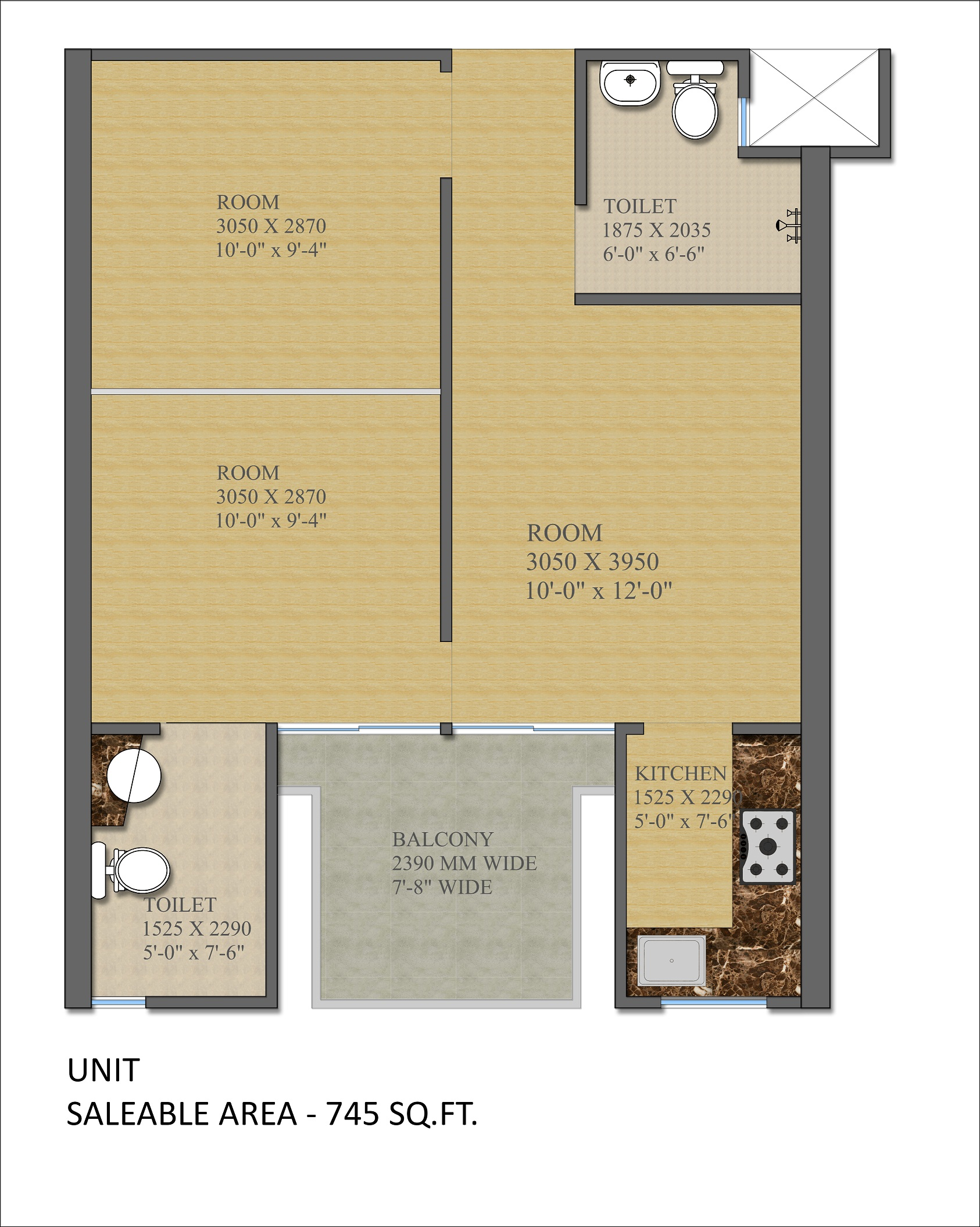 gaur city 2 14th avenue apartment 3bhk 745sqft 1