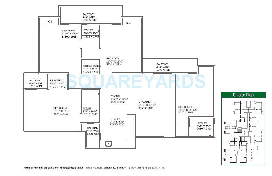 gaur city 4th avenue apartment 4bhk 1855sqft 1