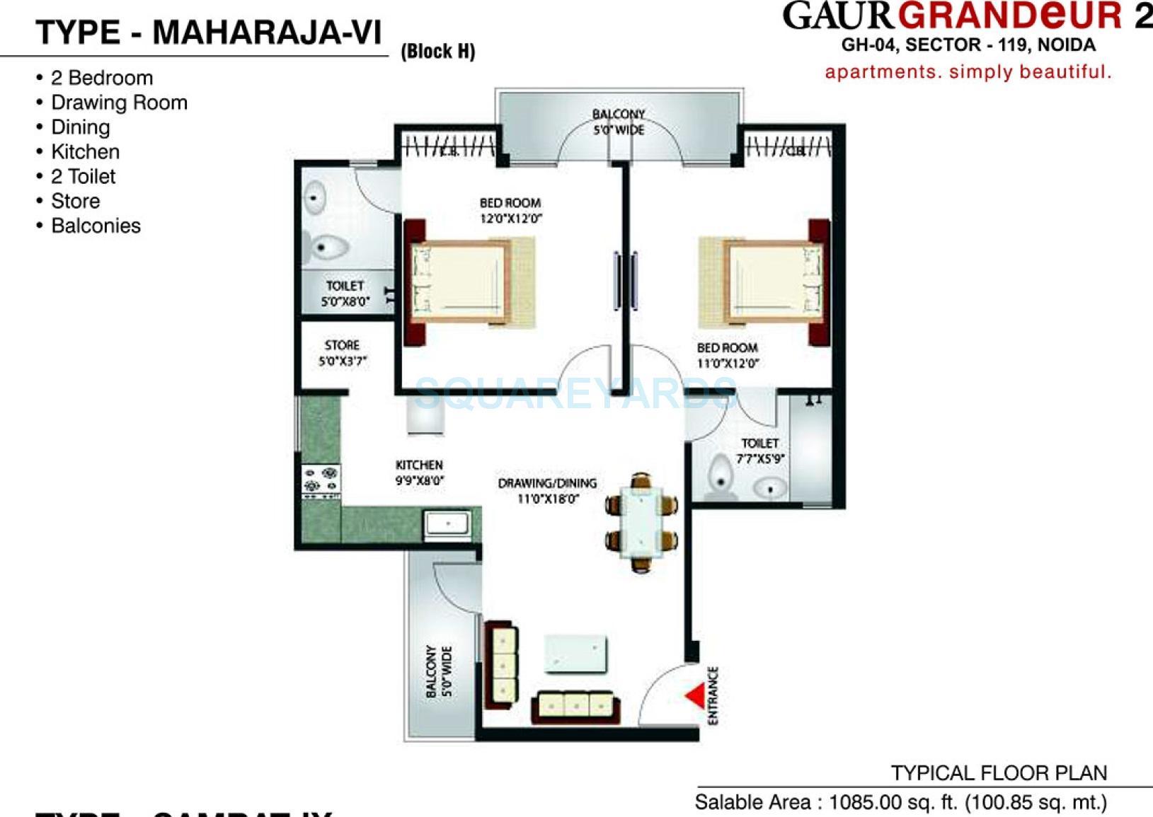 gaur grandeur 2 apartment 2bhk 1085sqft 1
