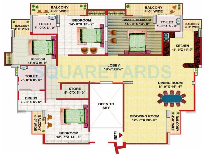gaur grandeur apartment 4bhk 2978sqft 1