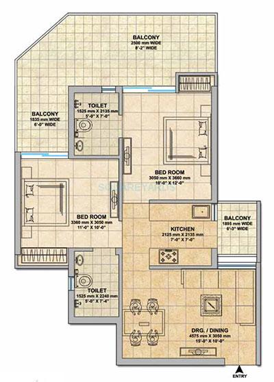 gaur yamuna city 16th perk view apartment 2bhk 1075sqft 1