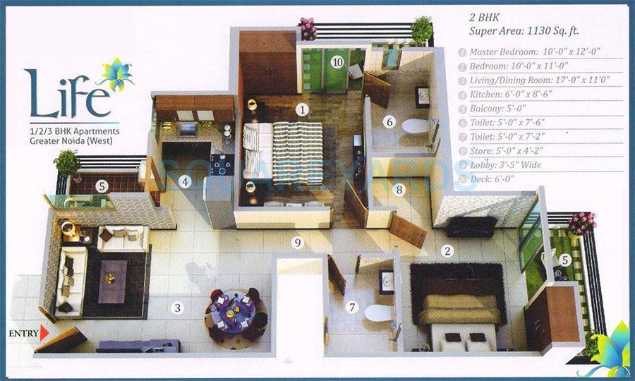 gayatri life apartment 2bhk 1130sqft 1