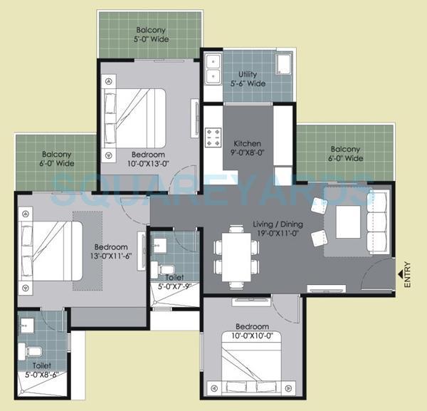 gulshan ikebana apartment 3bhk 1340sqft 1