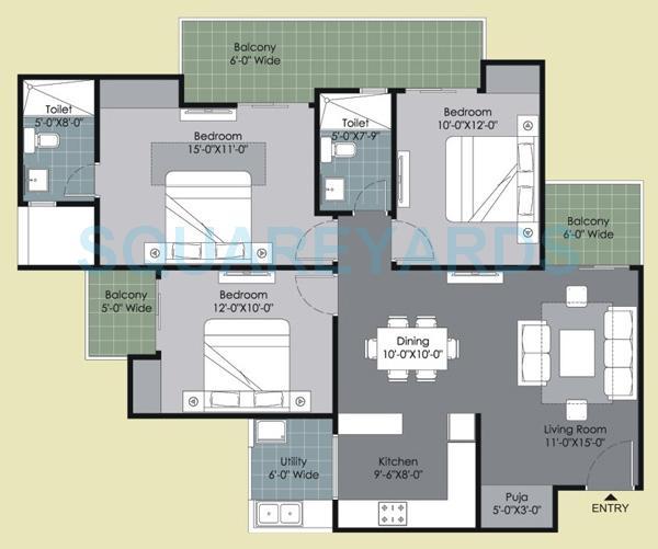 gulshan ikebana apartment 3bhk 1495sqft 1