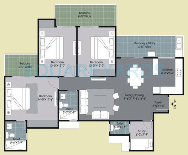 gulshan ikebana apartment 3bhk 1695sqft 1
