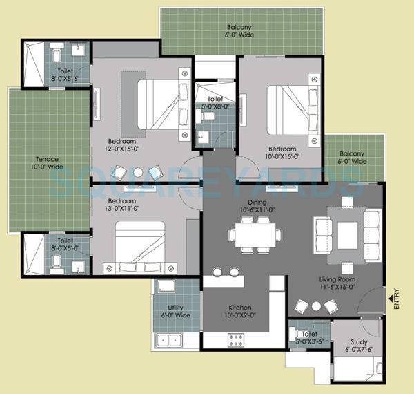 gulshan ikebana apartment 3bhk 1995sqft 1