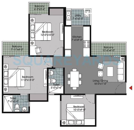 gulshan vivante apartment 3bhk 1175sqft 1