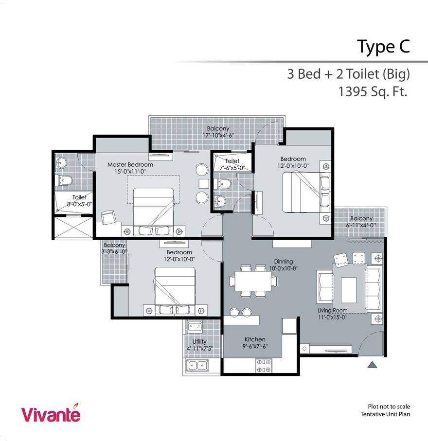 gulshan vivante apartment 3bhk 1395sqft 61