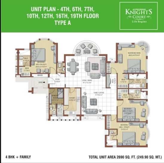 jaypee greens knight court apartment 4bhk 2690sqft 111