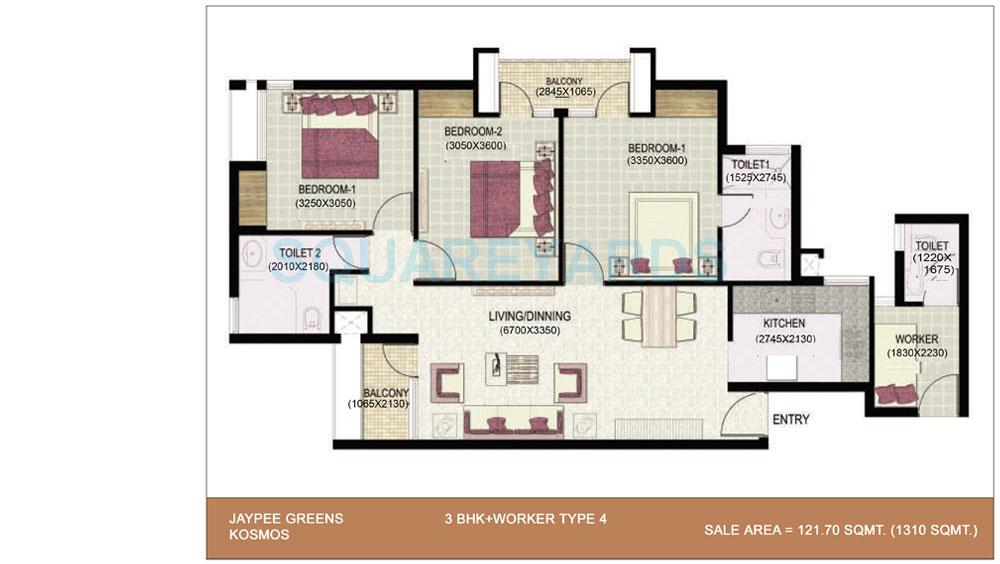 jaypee greens kosmos apartment 3bhk sq 1310sqft 1