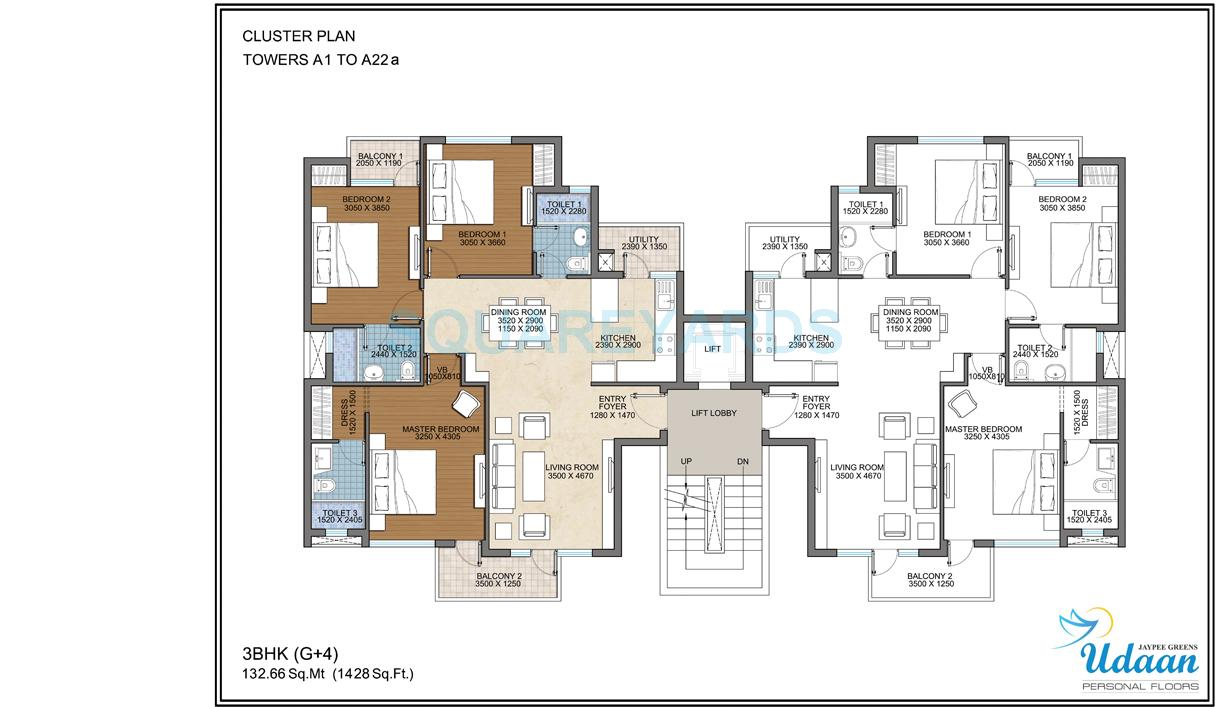 3 bhk 1400 sq ft apartment for sale in jaypee greens for Apartment plans 1200 sq ft