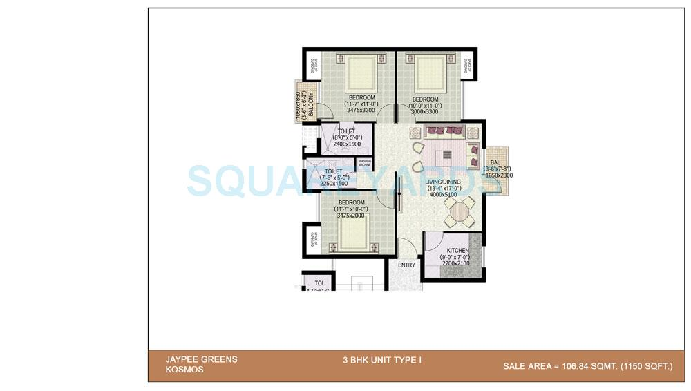 jaypee kosmos apartment 3bhk 1150sqft 1