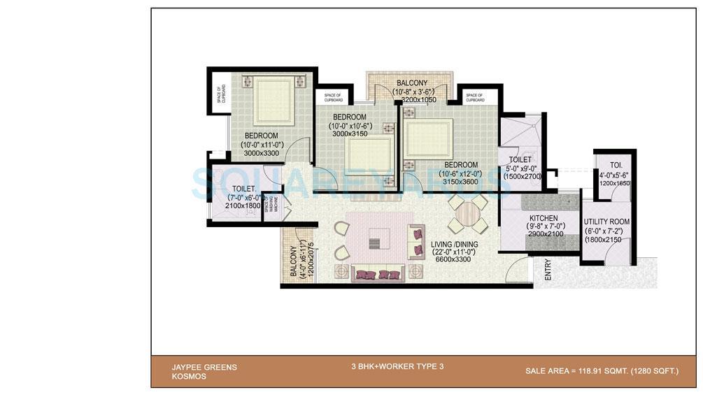 jaypee kosmos apartment 3bhk sq 1280sqft 1