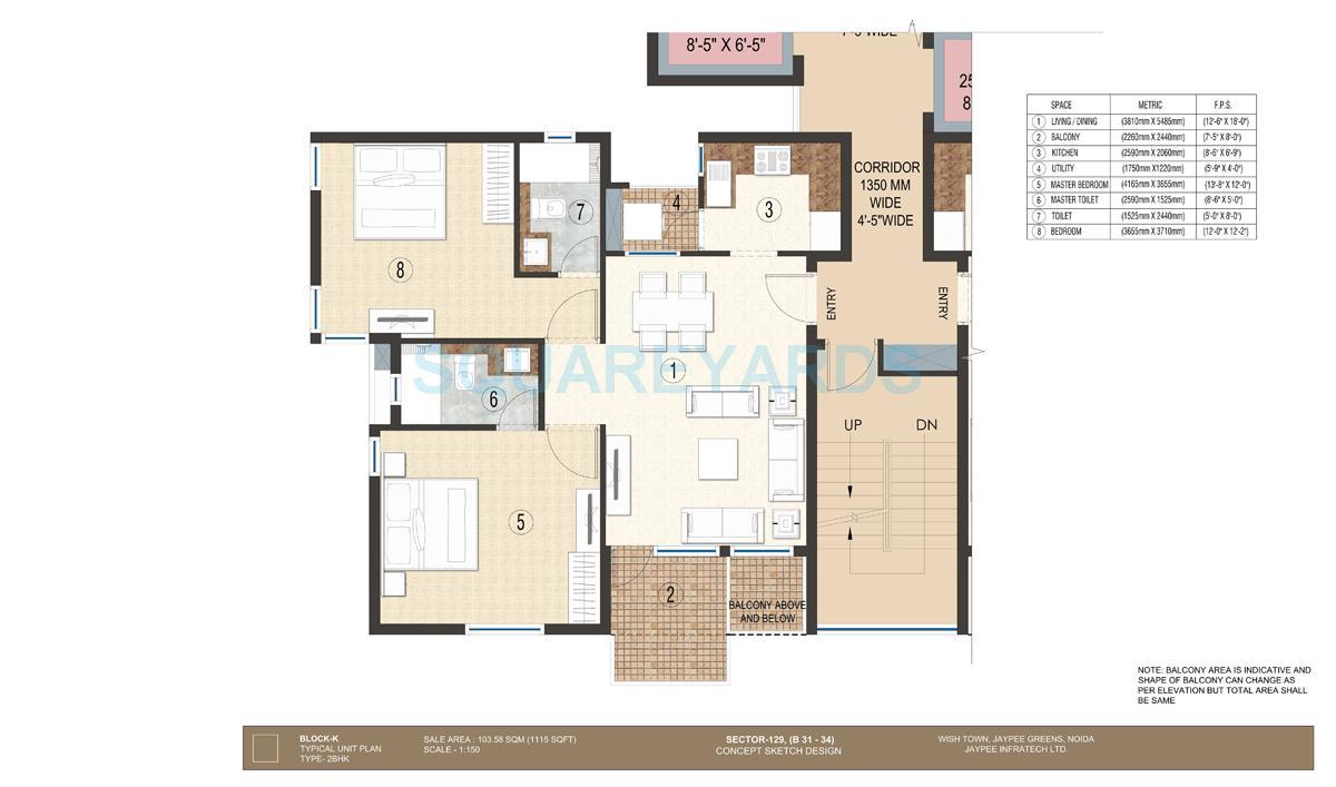 jaypee krescent homes apartment 2bhk 1115sqft 1