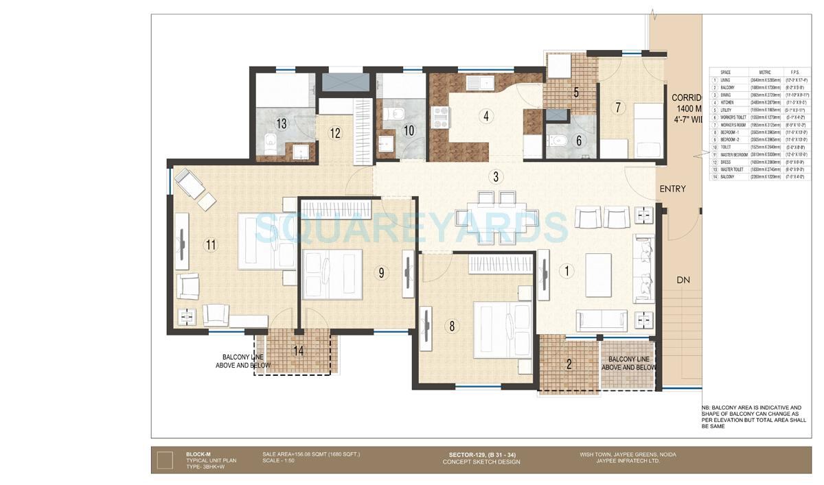jaypee krescent homes apartment 3bhk 1680sqft 1