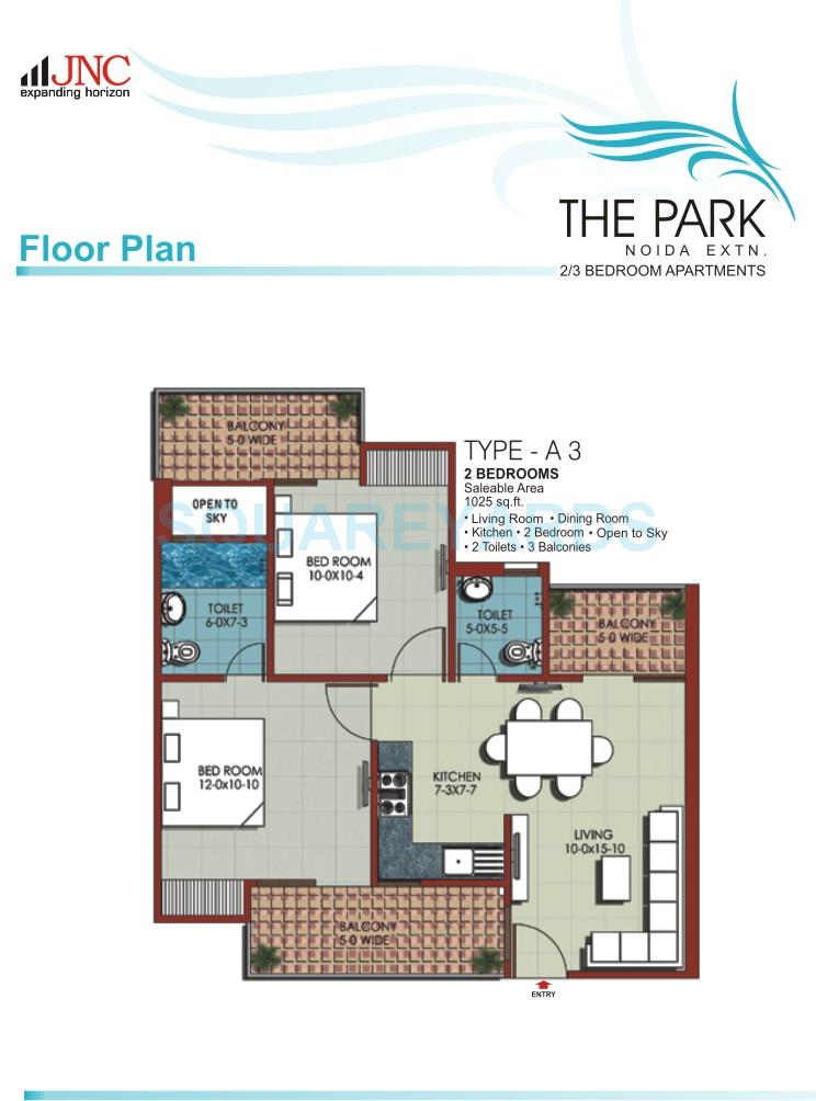 jnc the park apartment 2bhk 1025sqft 1