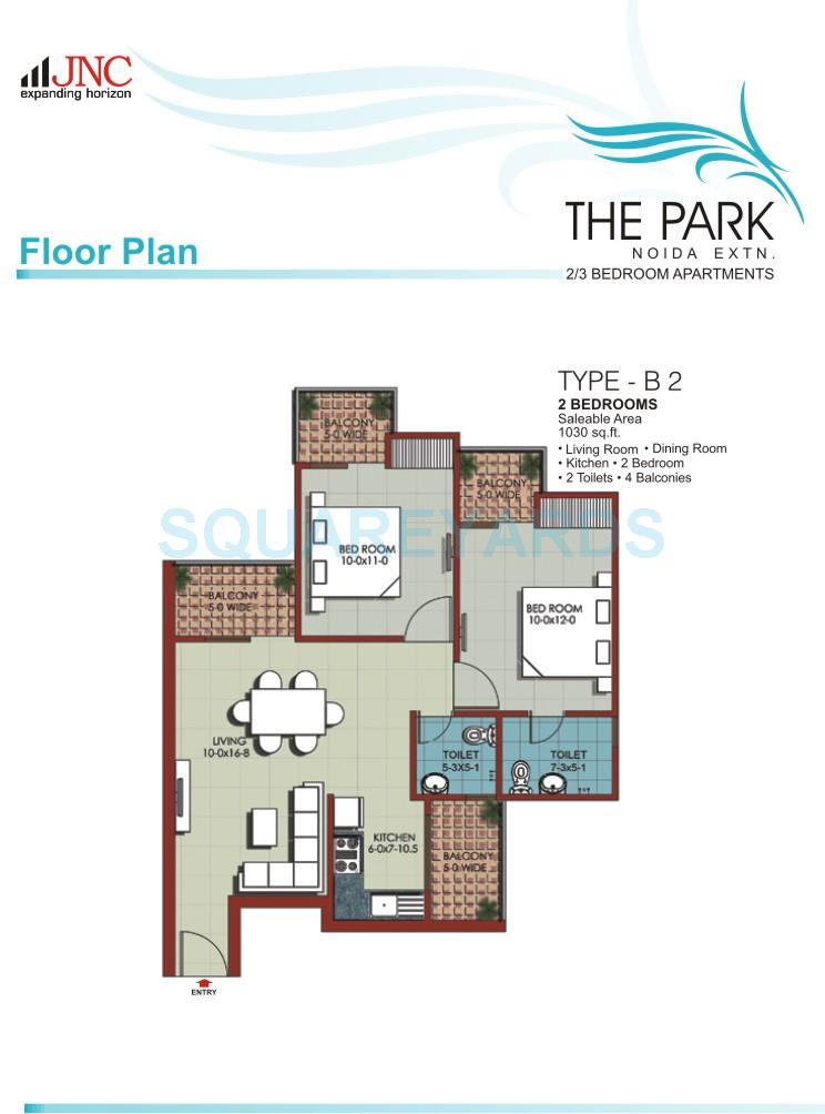 jnc the park apartment 2bhk 1030sqft 1