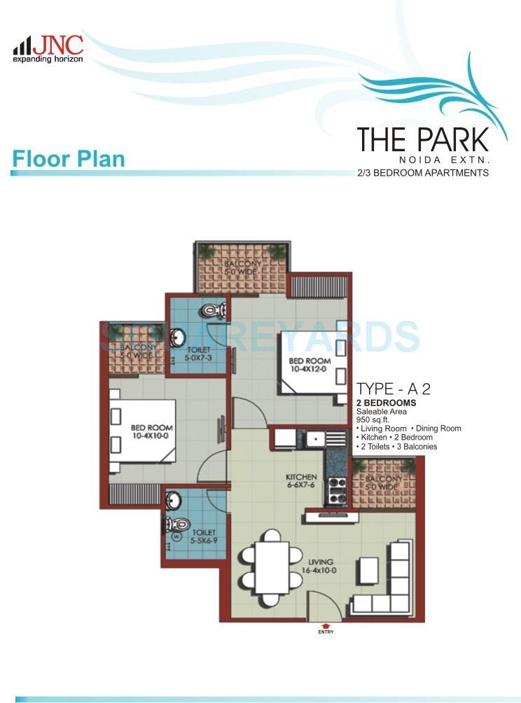 jnc the park apartment 2bhk 950sqft 1