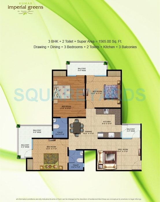 keltech imperial greens apartment 3bhk 1565sqft 1