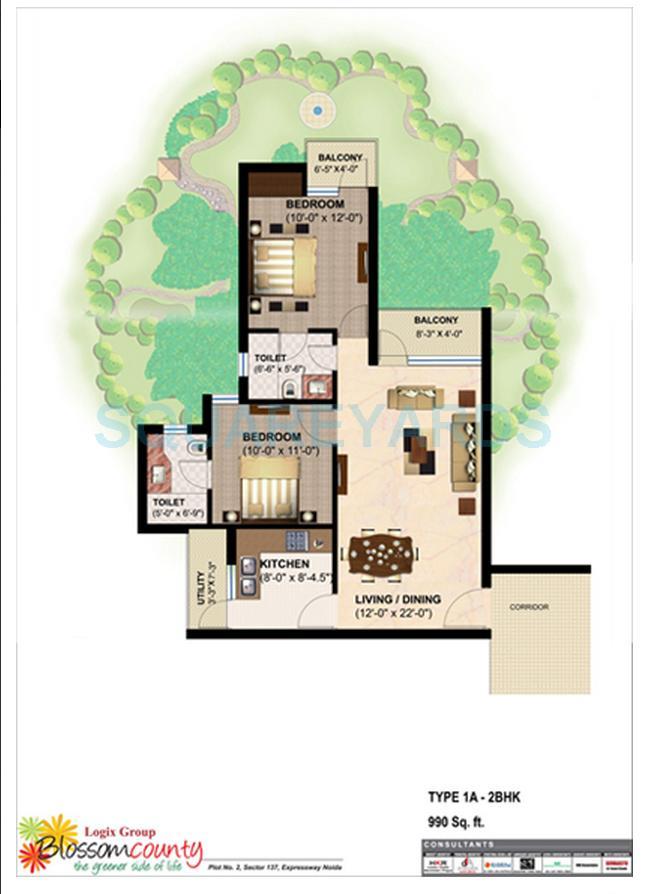 logix blossom county apartment 2bhk 990sqft 1