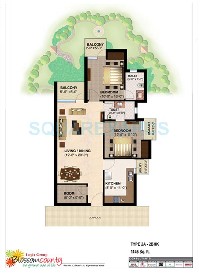 logix blossom county apartment 2bhk sq 1145sqft 1