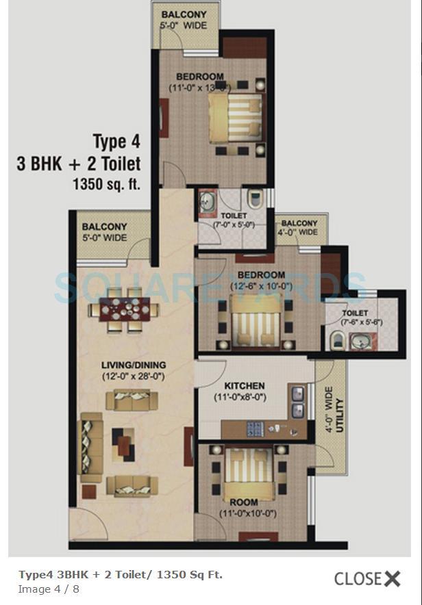 logix blossom county apartment 3bhk 1350sqft 1