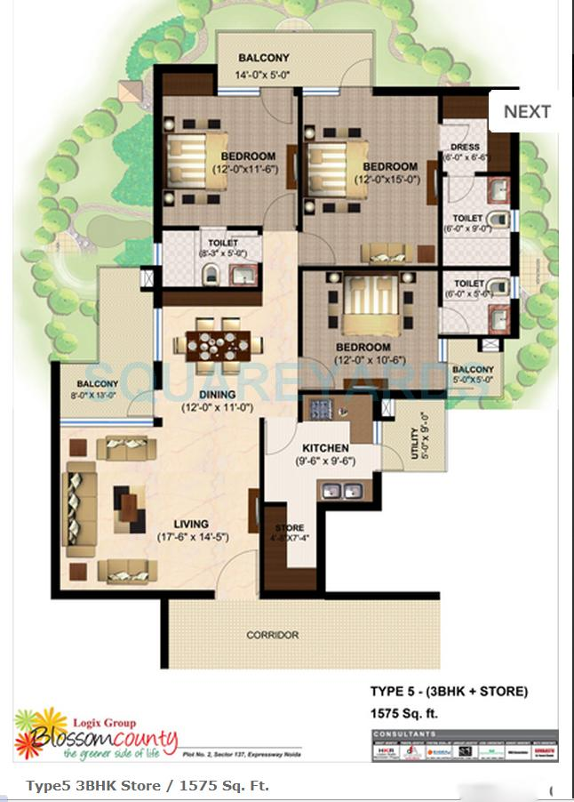 logix blossom county apartment 3bhk 1575sqft 1