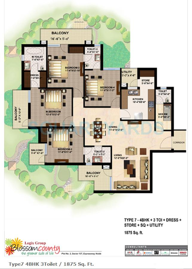 logix blossom county apartment 4bhk sq 1875sqft 1