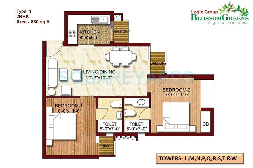 logix blossom greens apartment 2bhk 860sqft 1