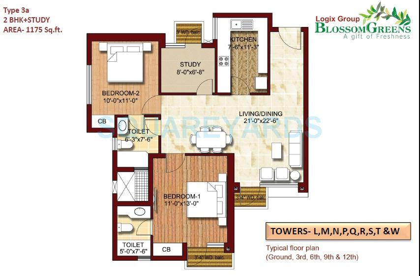 logix blossom greens apartment 2bhk st 1175sqft 1
