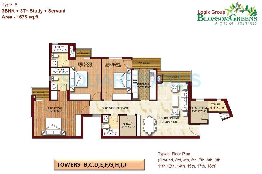 logix blossom greens apartment 3bhk sq st 1675sqft 1