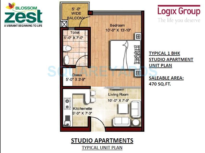 logix blossom zest apartment 1bhk 470sqft 1