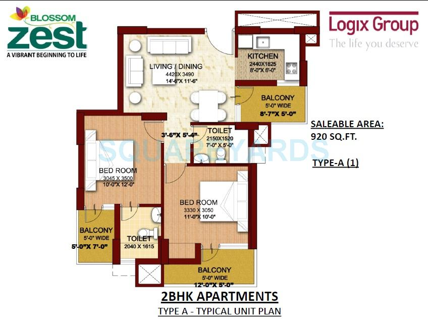 logix blossom zest apartment 2bhk 920sqft 1