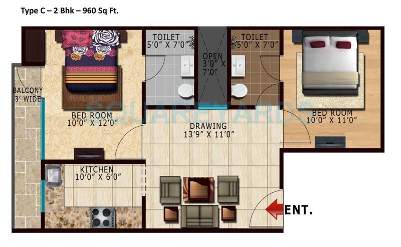 lotus park apartment 2bhk 960sqft 1
