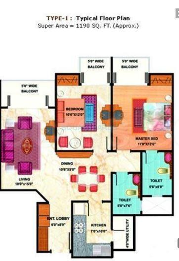 mahagun maestro apartment 2bhk 1190sqft 1