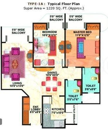 mahagun maestro apartment 2bhk 1220sqft 1