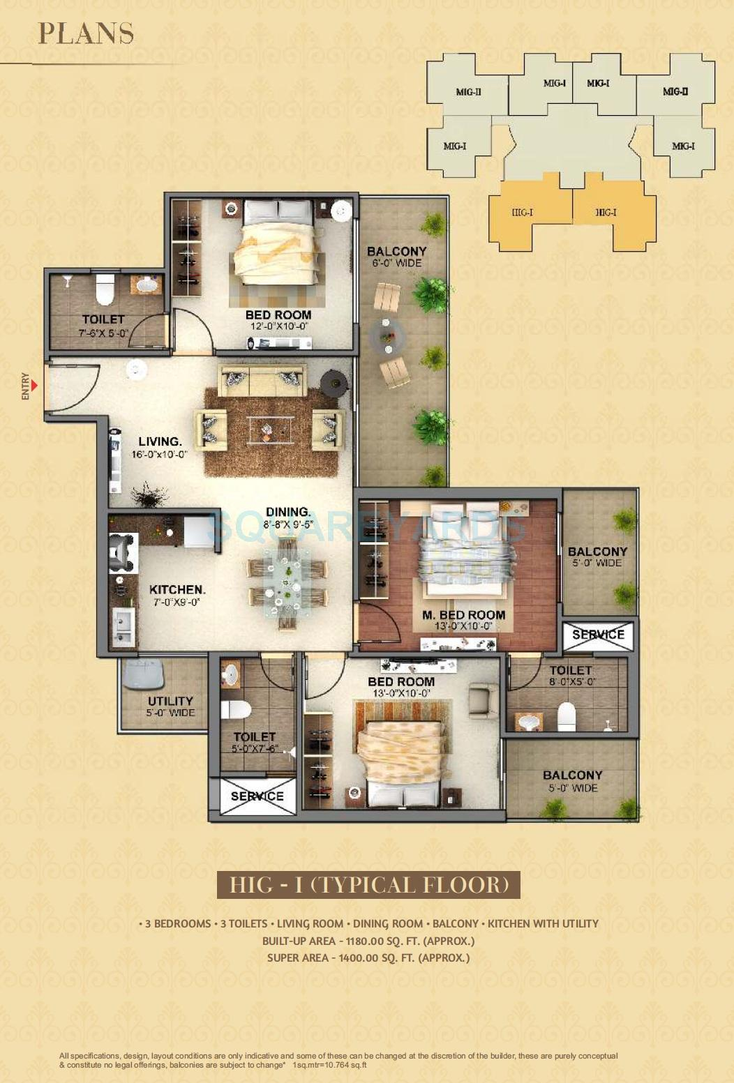 3 bhk 1400 sq ft apartment for sale in mahagun mantra i at rs