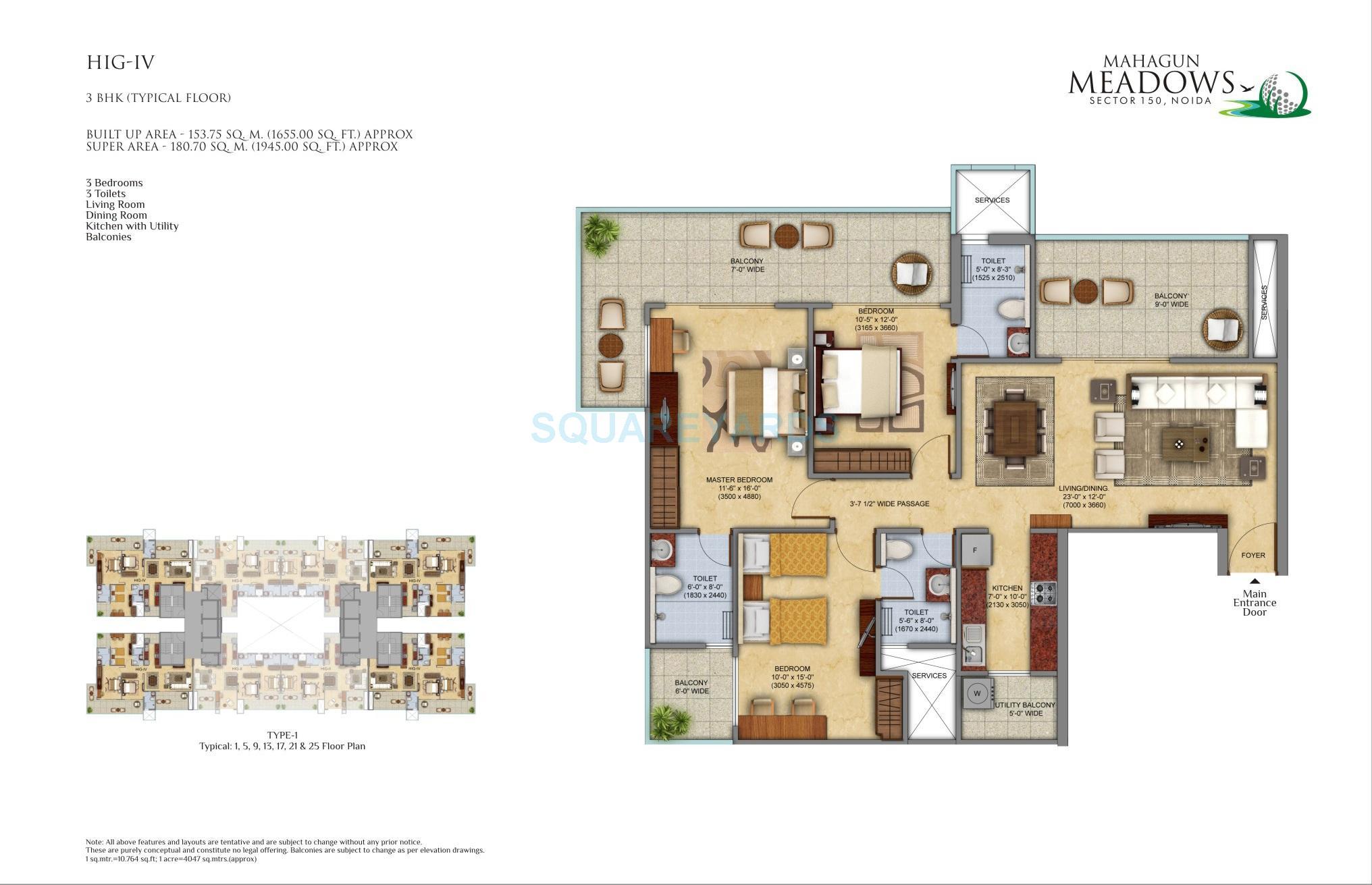 mahagun meadows apartment 3bhk 1945sqft 1