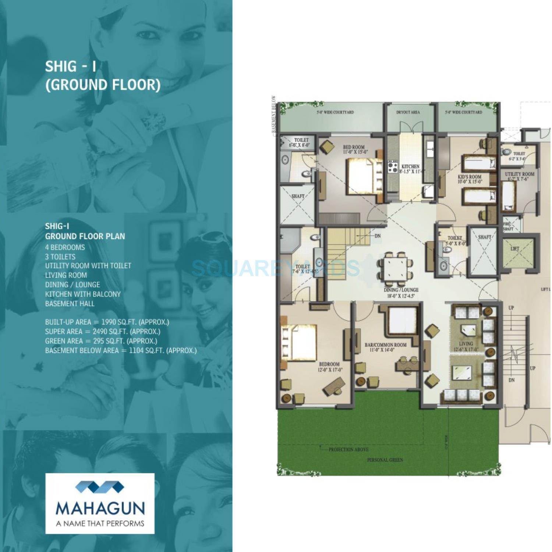 mahagun moderne low rise shig ind floor gf 4bhk 2490sqft 1