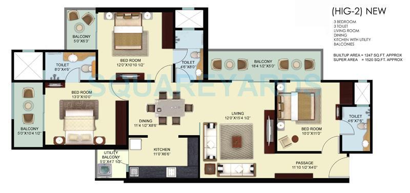 mahagun mywoods ii apartment 3bhk 1520sqft 1