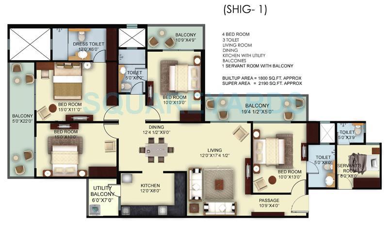 mahagun mywoods ii apartment 4bhk sq 2190sqft 1