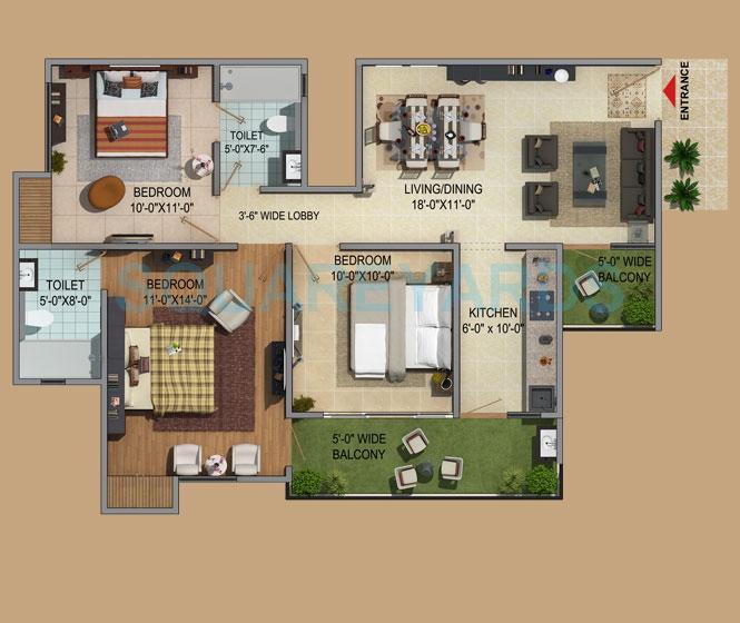 mahaluxmi green mansion apartment 3bhk 1350sqft 1